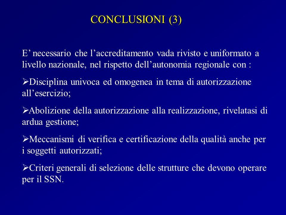 CONCLUSIONI (3) E' necessario che l'accreditamento vada rivisto e uniformato a livello nazionale, nel rispetto dell'autonomia regionale con :