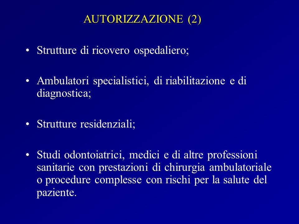 AUTORIZZAZIONE (2) Strutture di ricovero ospedaliero; Ambulatori specialistici, di riabilitazione e di diagnostica;