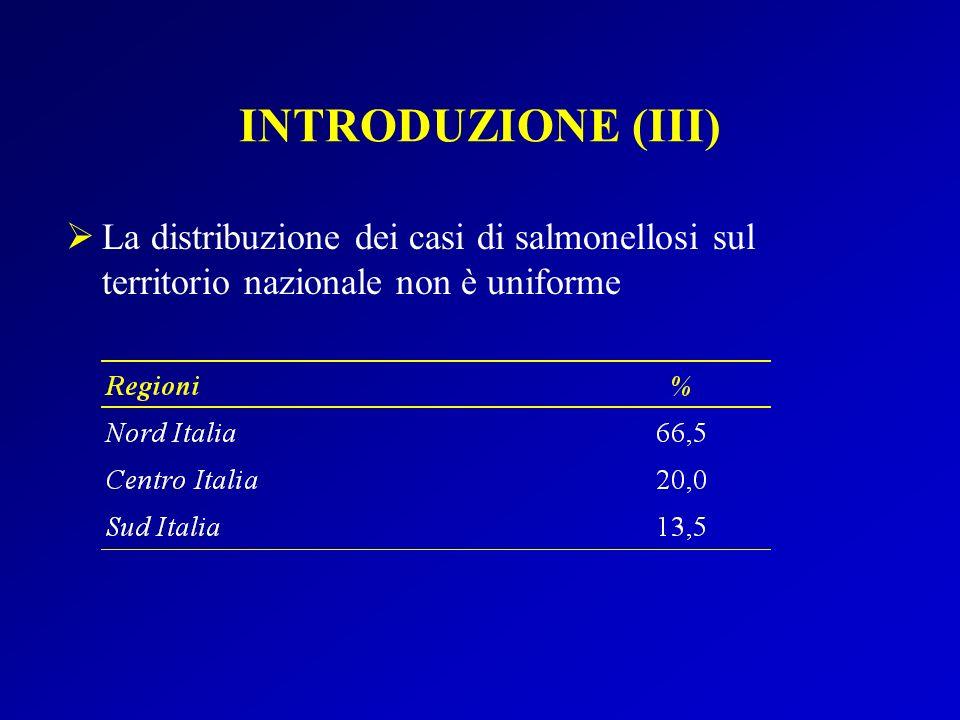 INTRODUZIONE (III) La distribuzione dei casi di salmonellosi sul territorio nazionale non è uniforme.