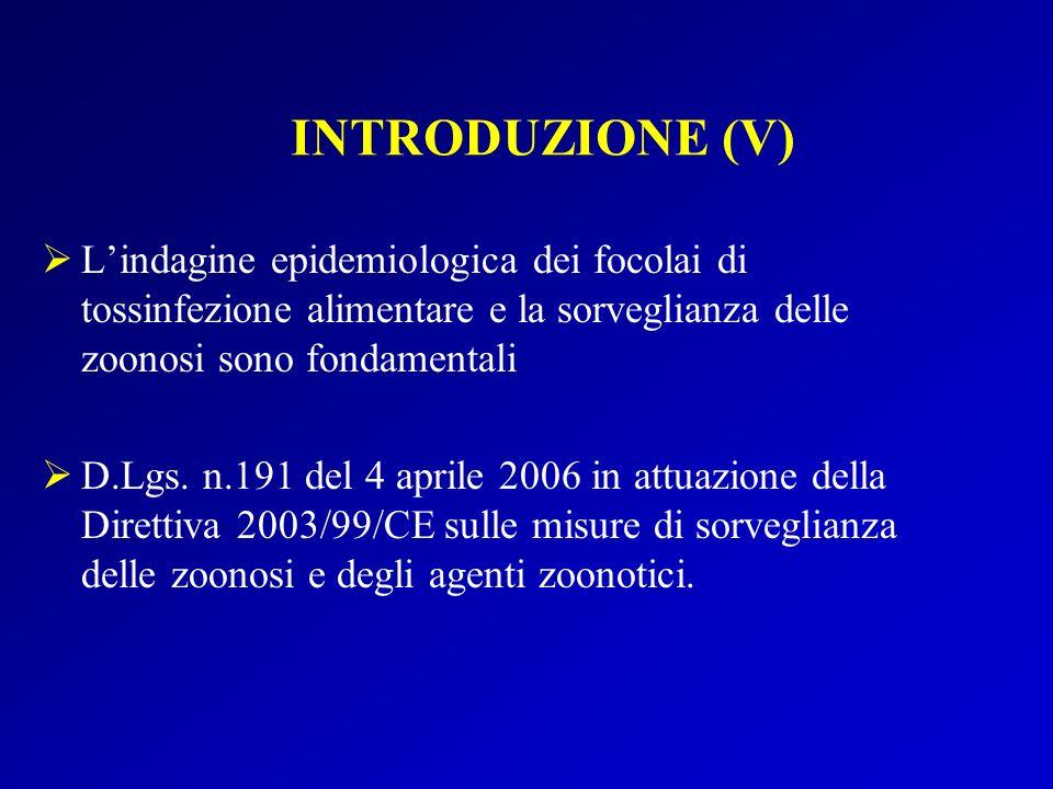 INTRODUZIONE (V) L'indagine epidemiologica dei focolai di tossinfezione alimentare e la sorveglianza delle zoonosi sono fondamentali.
