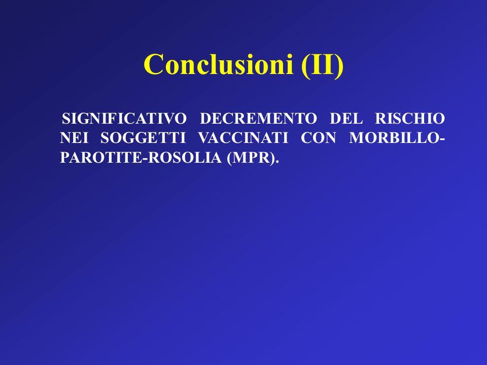 Conclusioni (II) SIGNIFICATIVO DECREMENTO DEL RISCHIO NEI SOGGETTI VACCINATI CON MORBILLO-PAROTITE-ROSOLIA (MPR).