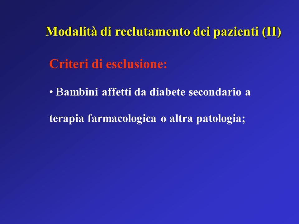 Modalità di reclutamento dei pazienti (II)