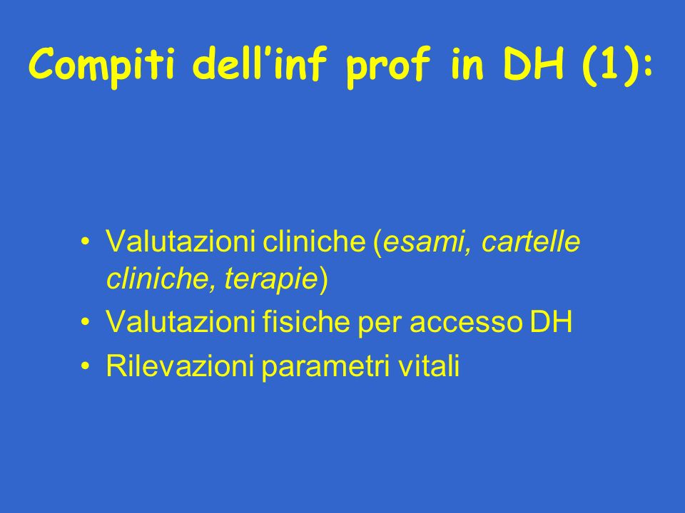 Compiti dell'inf prof in DH (1):