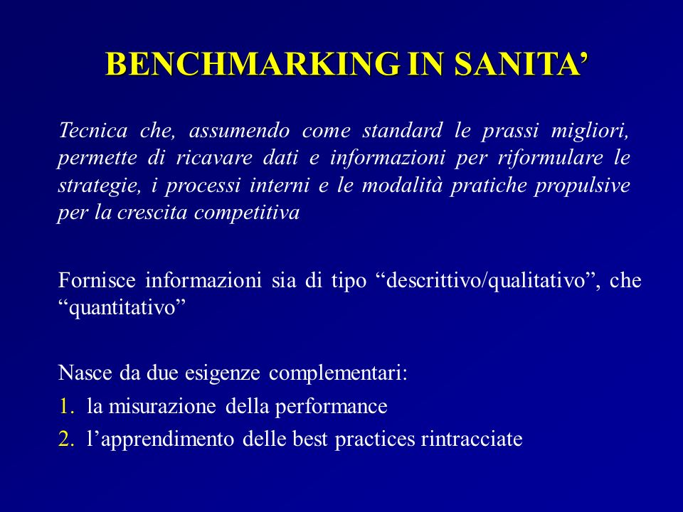 BENCHMARKING IN SANITA'