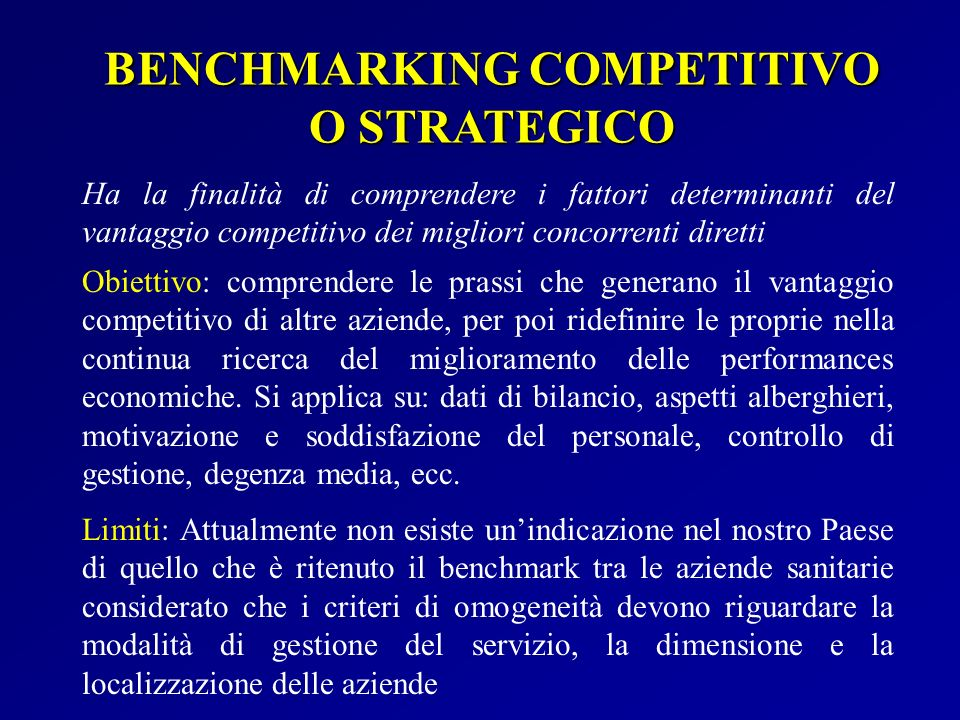 BENCHMARKING COMPETITIVO O STRATEGICO