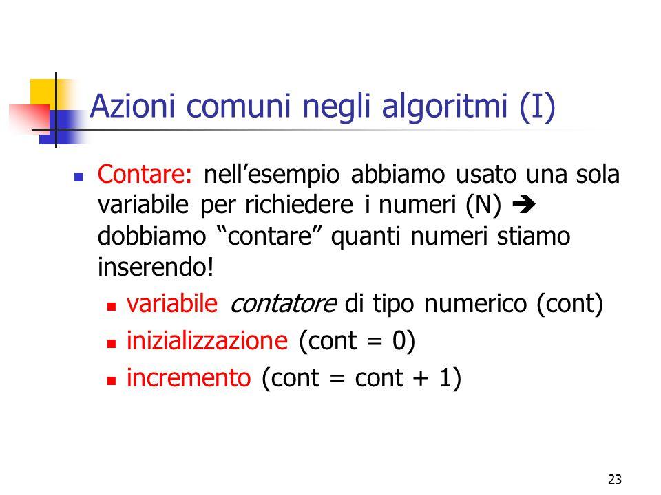Azioni comuni negli algoritmi (I)