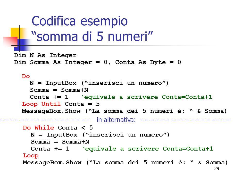 Codifica esempio somma di 5 numeri