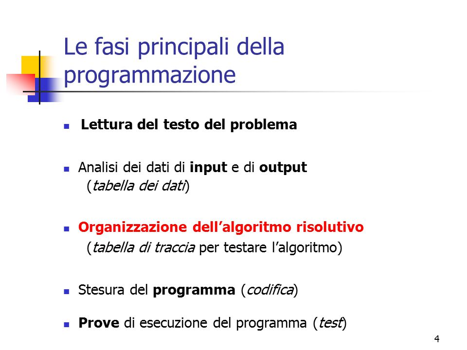 Le fasi principali della programmazione