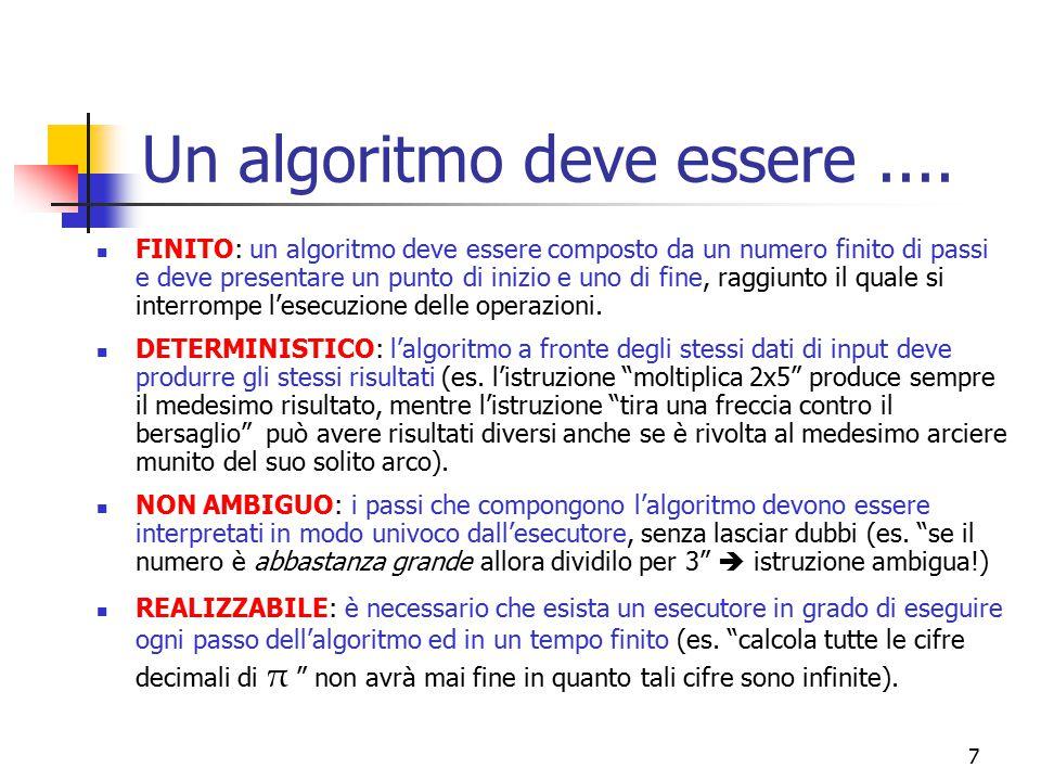 Un algoritmo deve essere ....