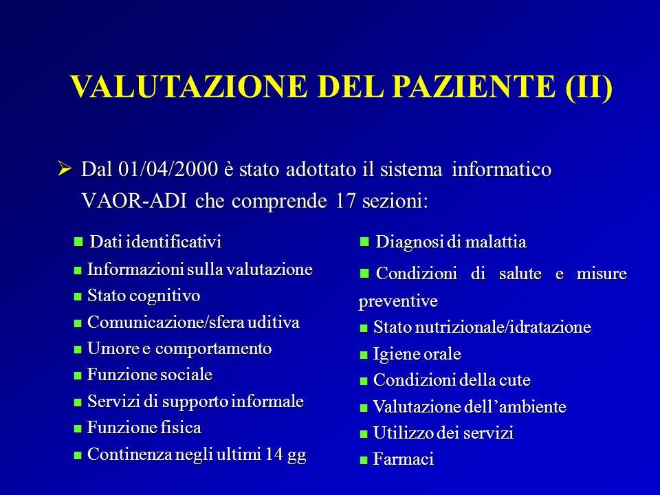 VALUTAZIONE DEL PAZIENTE (II)