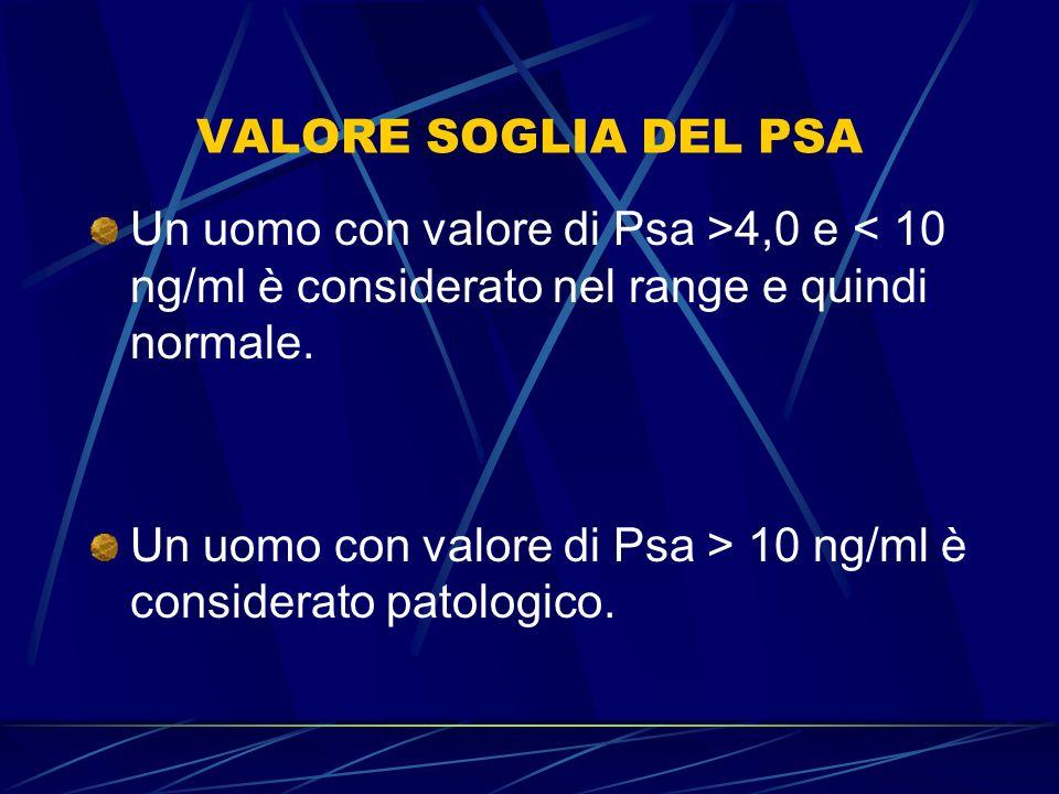 VALORE SOGLIA DEL PSA Un uomo con valore di Psa >4,0 e < 10 ng/ml è considerato nel range e quindi normale.