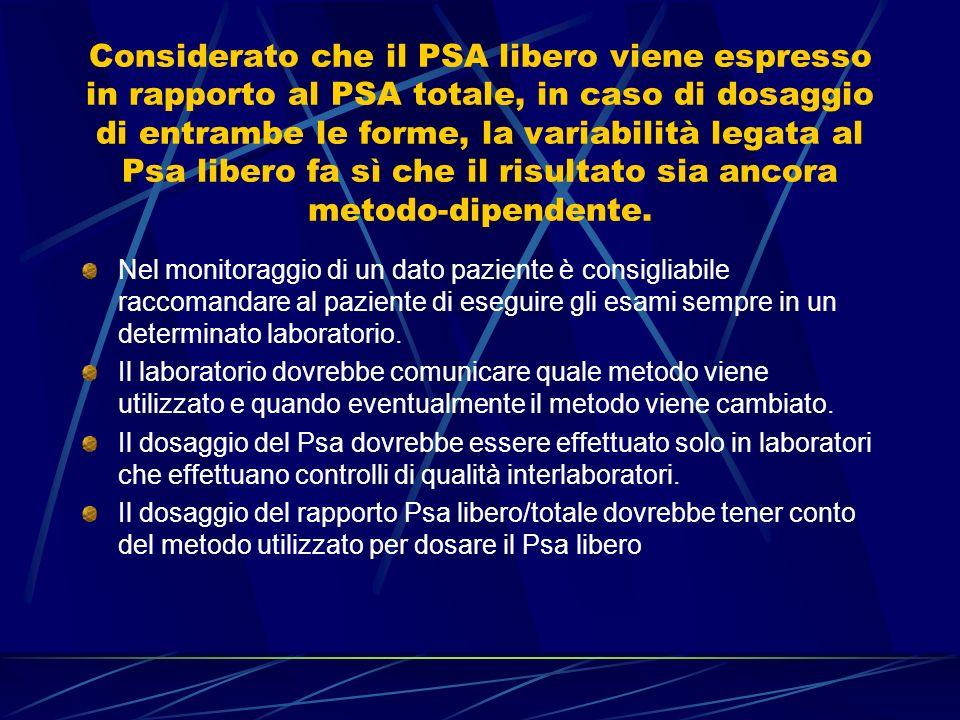 Considerato che il PSA libero viene espresso in rapporto al PSA totale, in caso di dosaggio di entrambe le forme, la variabilità legata al Psa libero fa sì che il risultato sia ancora metodo-dipendente.