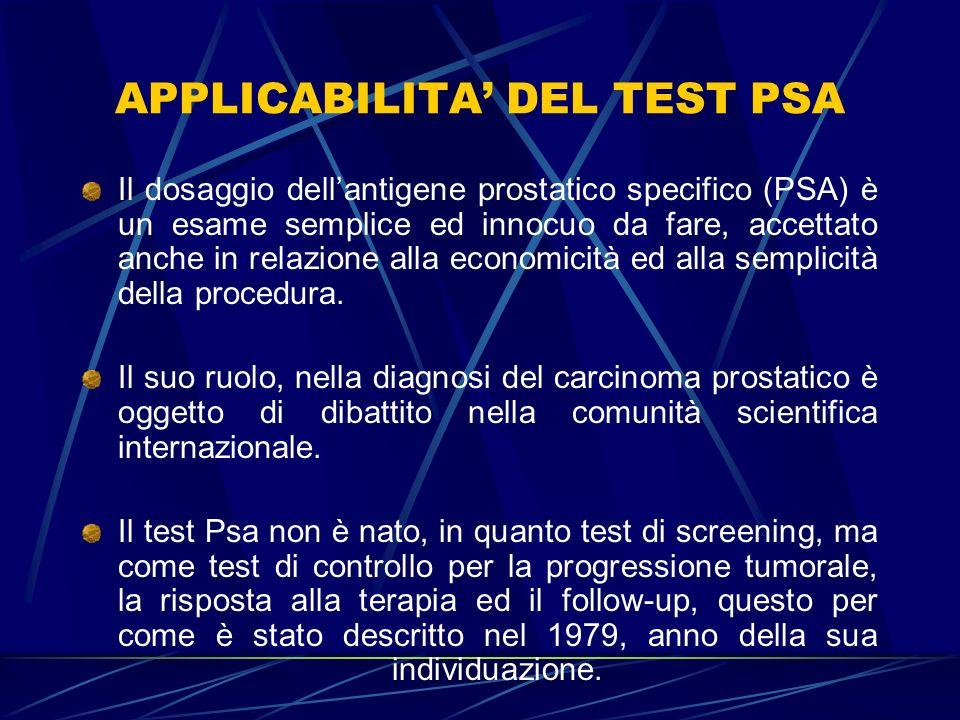 APPLICABILITA' DEL TEST PSA