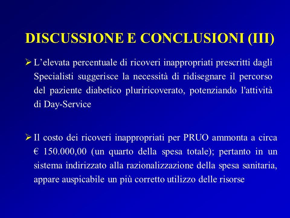 DISCUSSIONE E CONCLUSIONI (III)