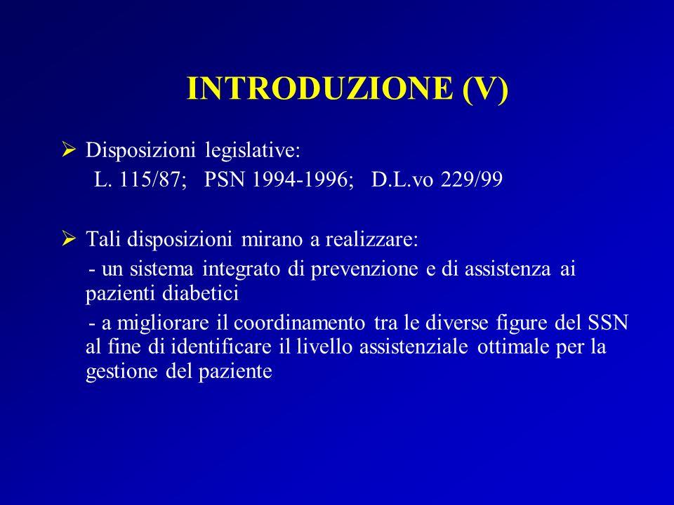 INTRODUZIONE (V) Disposizioni legislative: