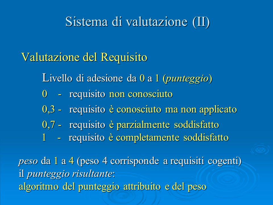 Sistema di valutazione (II)