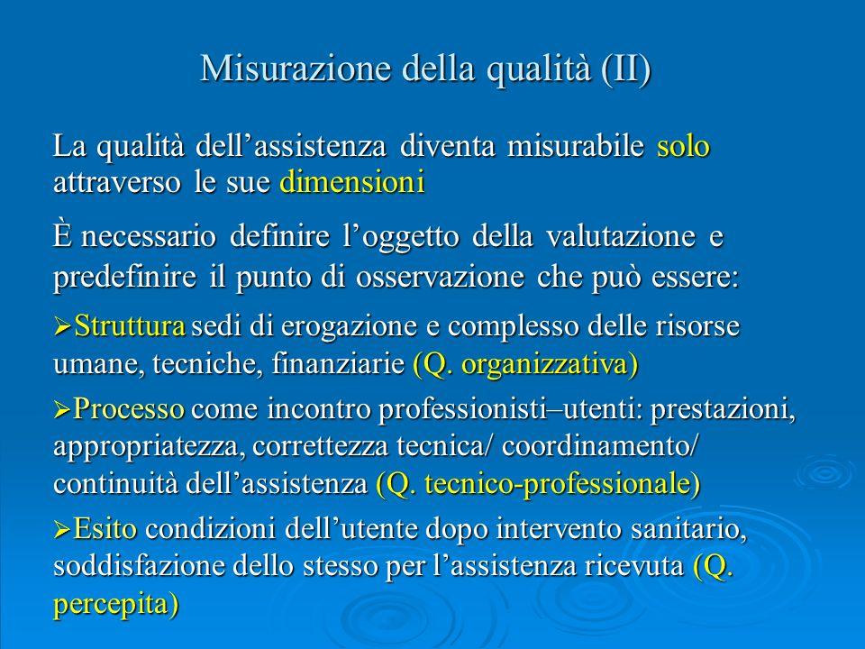Misurazione della qualità (II)
