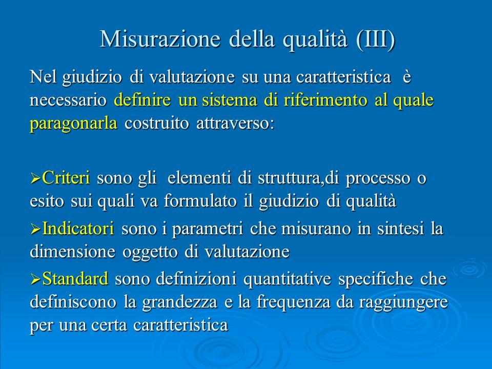 Misurazione della qualità (III)
