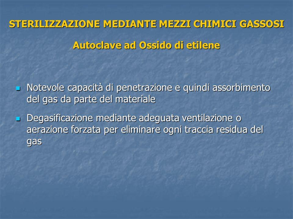 STERILIZZAZIONE MEDIANTE MEZZI CHIMICI GASSOSI Autoclave ad Ossido di etilene