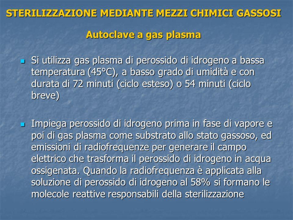 STERILIZZAZIONE MEDIANTE MEZZI CHIMICI GASSOSI Autoclave a gas plasma