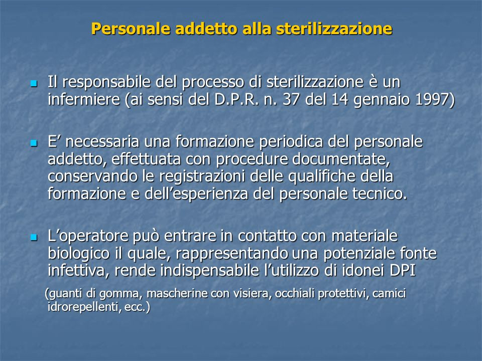 Personale addetto alla sterilizzazione