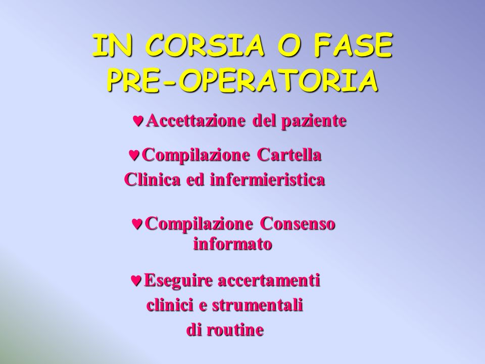 IN CORSIA O FASE PRE-OPERATORIA