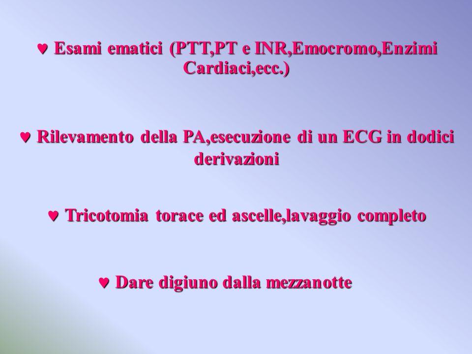  Esami ematici (PTT,PT e INR,Emocromo,Enzimi Cardiaci,ecc.)