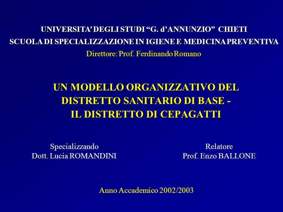 UNIVERSITA' DEGLI STUDI G. d'ANNUNZIO CHIETI