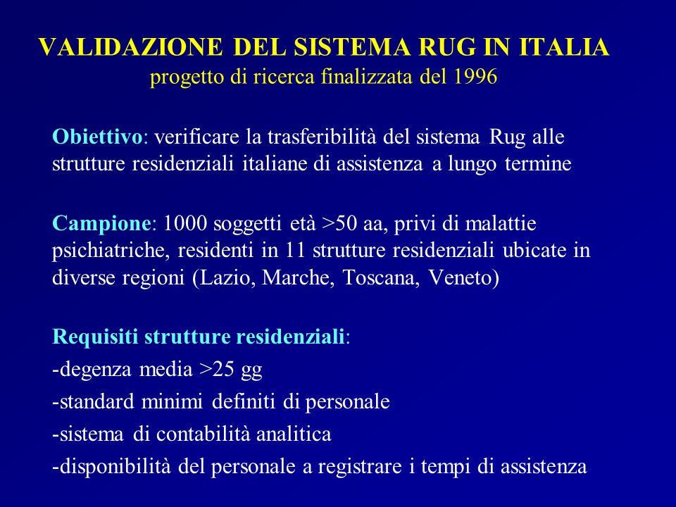 VALIDAZIONE DEL SISTEMA RUG IN ITALIA progetto di ricerca finalizzata del 1996