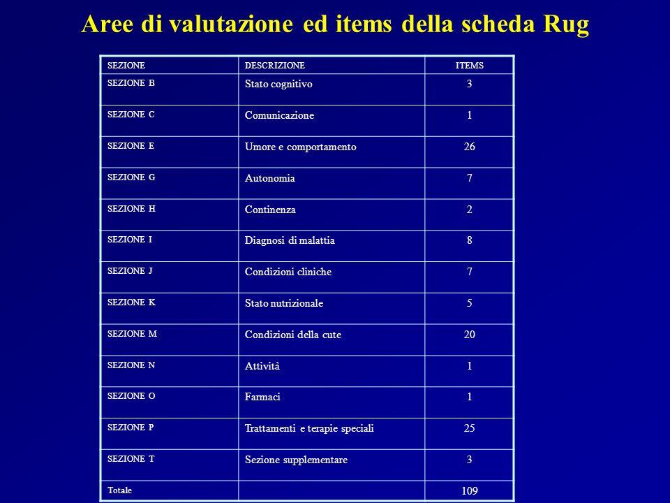 Aree di valutazione ed items della scheda Rug