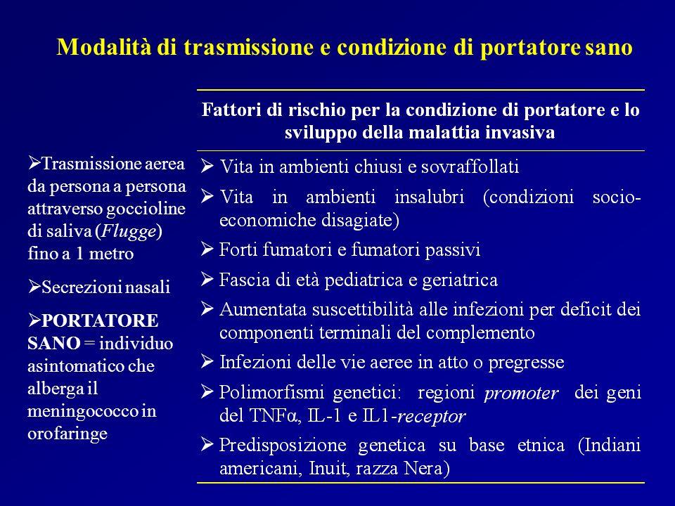Modalità di trasmissione e condizione di portatore sano