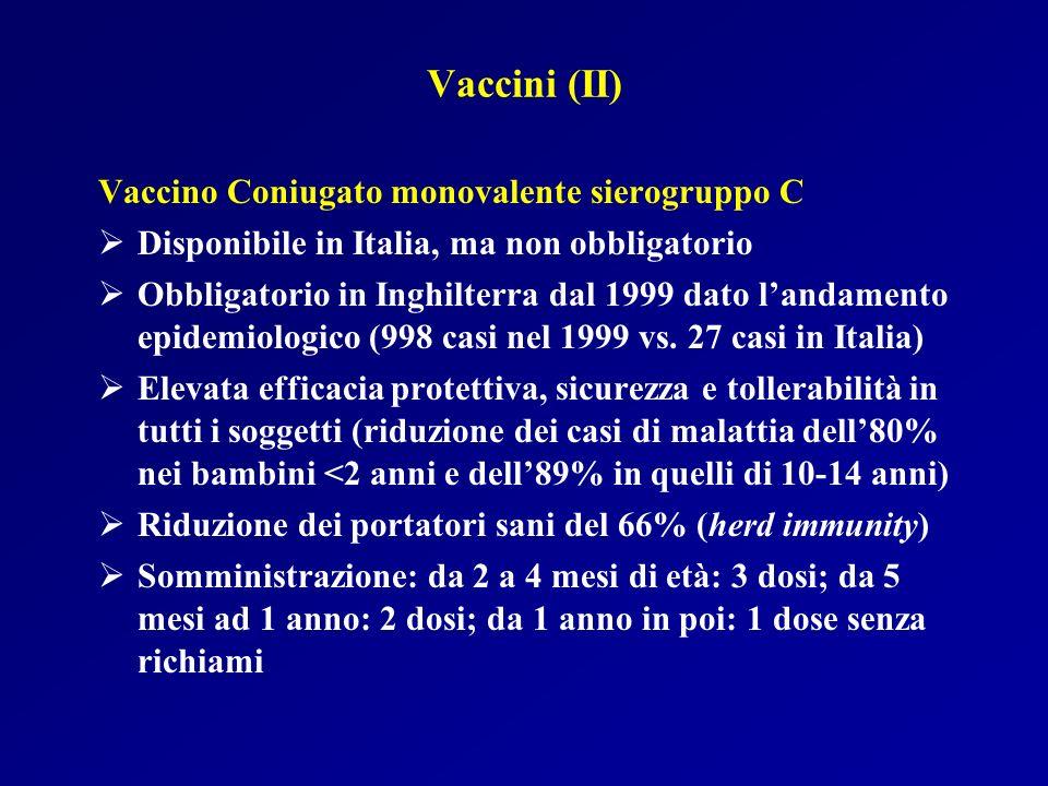 Vaccini (II) Vaccino Coniugato monovalente sierogruppo C