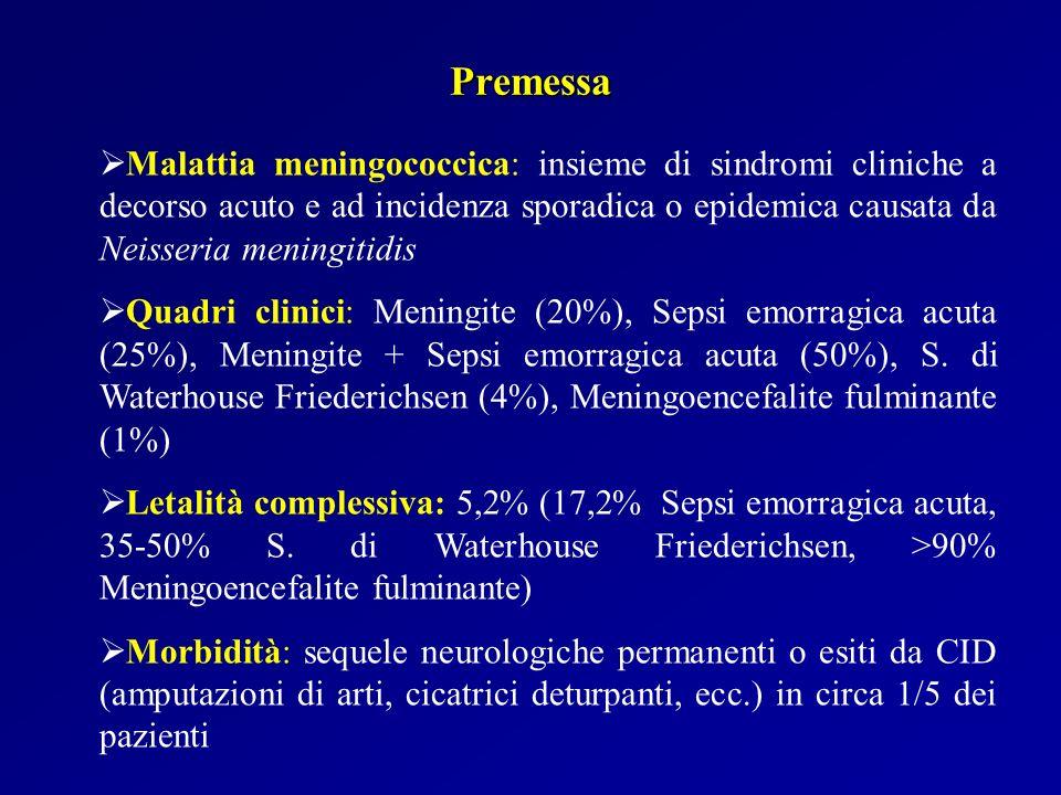 Premessa Malattia meningococcica: insieme di sindromi cliniche a decorso acuto e ad incidenza sporadica o epidemica causata da Neisseria meningitidis.