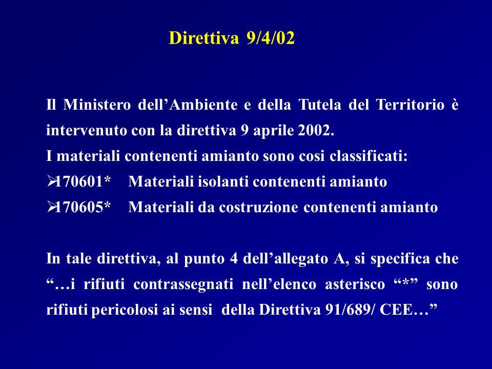 Direttiva 9/4/02 Il Ministero dell'Ambiente e della Tutela del Territorio è intervenuto con la direttiva 9 aprile 2002.
