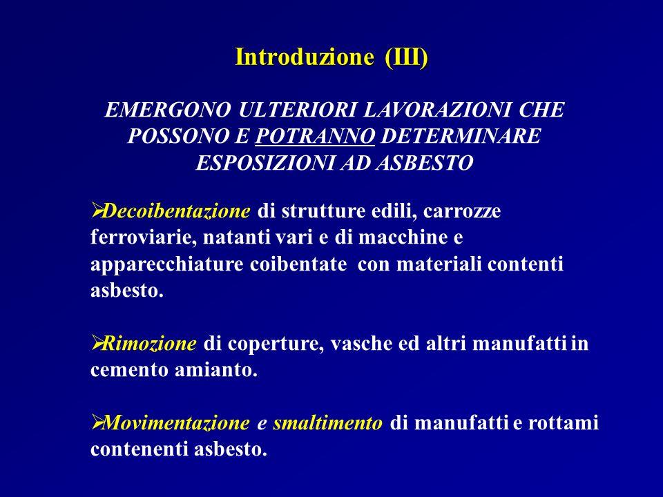 Introduzione (III) EMERGONO ULTERIORI LAVORAZIONI CHE POSSONO E POTRANNO DETERMINARE ESPOSIZIONI AD ASBESTO.