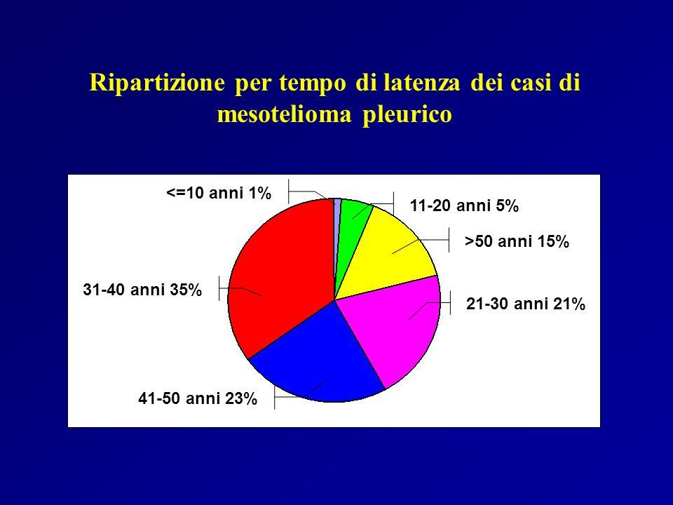 Ripartizione per tempo di latenza dei casi di mesotelioma pleurico
