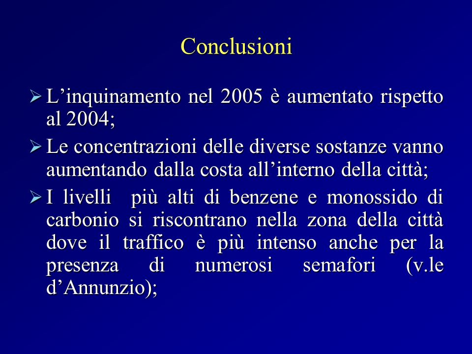 Conclusioni L'inquinamento nel 2005 è aumentato rispetto al 2004;