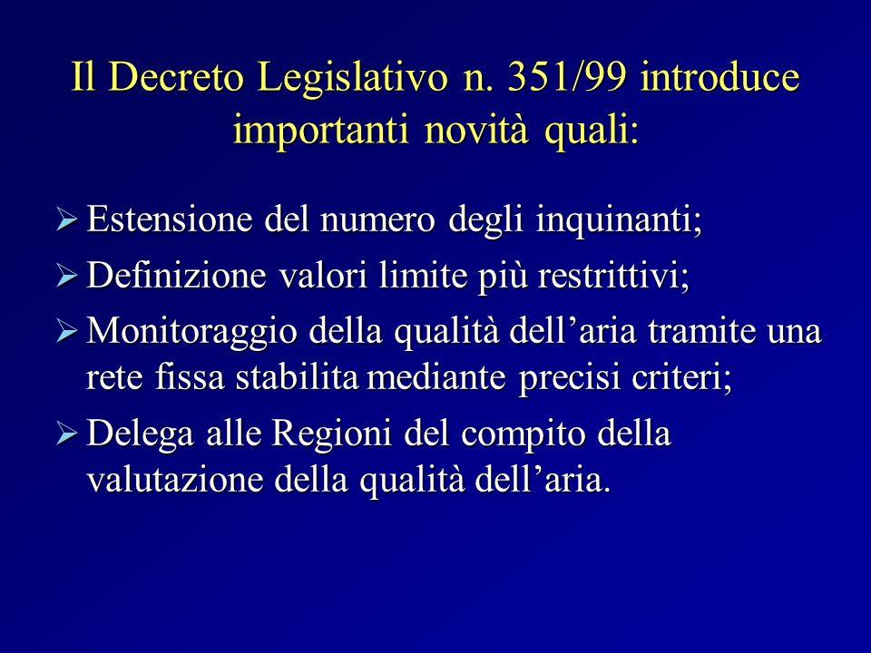 Il Decreto Legislativo n. 351/99 introduce importanti novità quali: