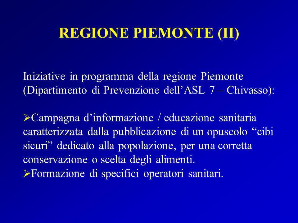 REGIONE PIEMONTE (II) Iniziative in programma della regione Piemonte (Dipartimento di Prevenzione dell'ASL 7 – Chivasso):