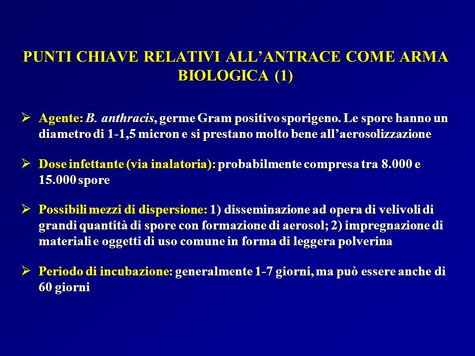 PUNTI CHIAVE RELATIVI ALL'ANTRACE COME ARMA BIOLOGICA (1)