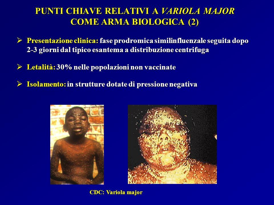 PUNTI CHIAVE RELATIVI A VARIOLA MAJOR COME ARMA BIOLOGICA (2)