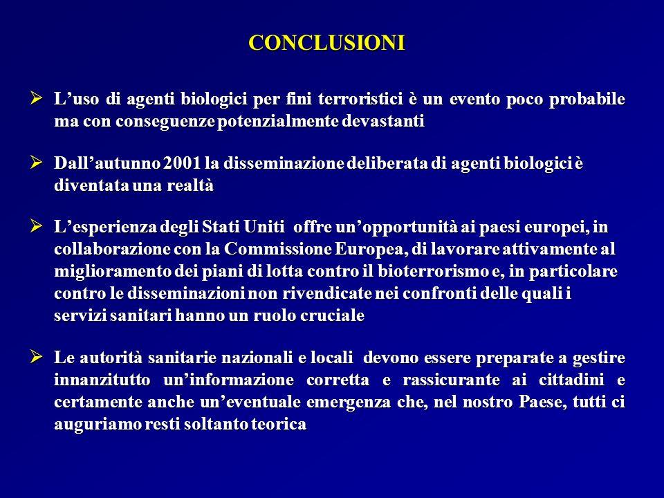 CONCLUSIONI L'uso di agenti biologici per fini terroristici è un evento poco probabile ma con conseguenze potenzialmente devastanti.