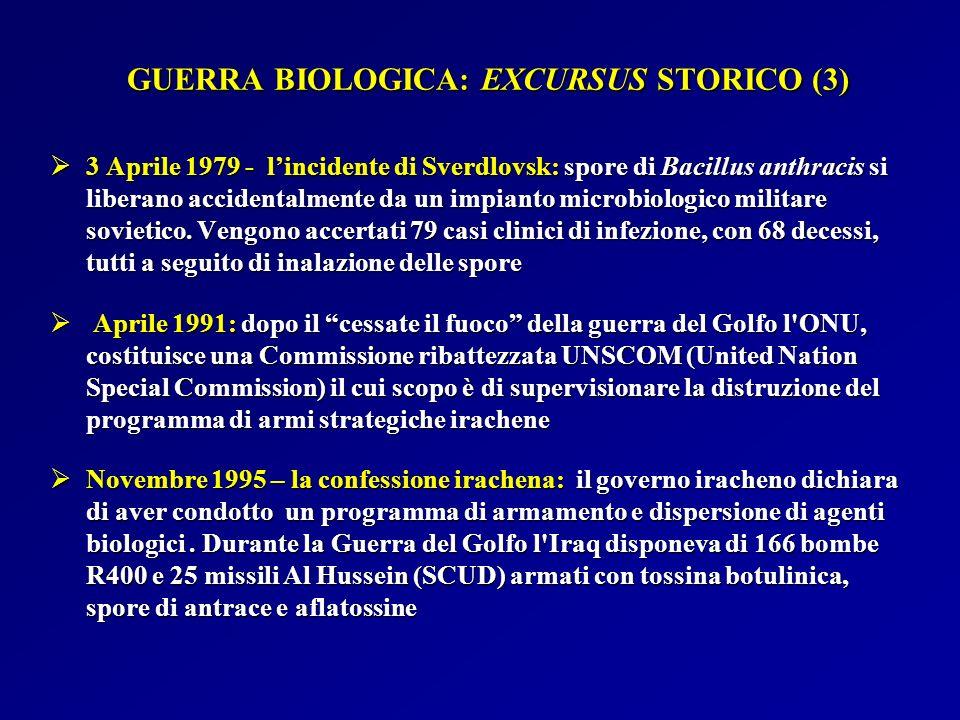 GUERRA BIOLOGICA: EXCURSUS STORICO (3)