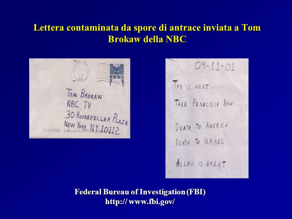 Lettera contaminata da spore di antrace inviata a Tom Brokaw della NBC