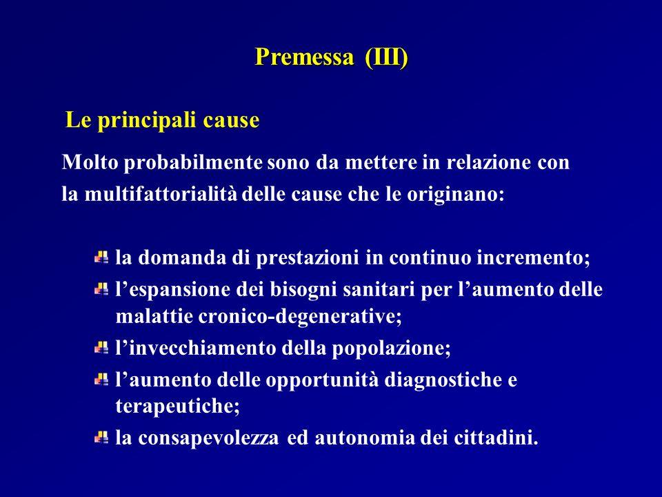Premessa (III) Le principali cause