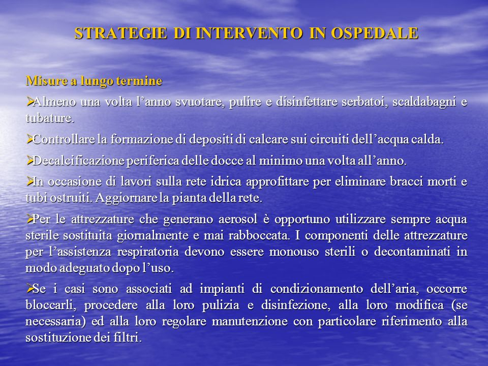 STRATEGIE DI INTERVENTO IN OSPEDALE