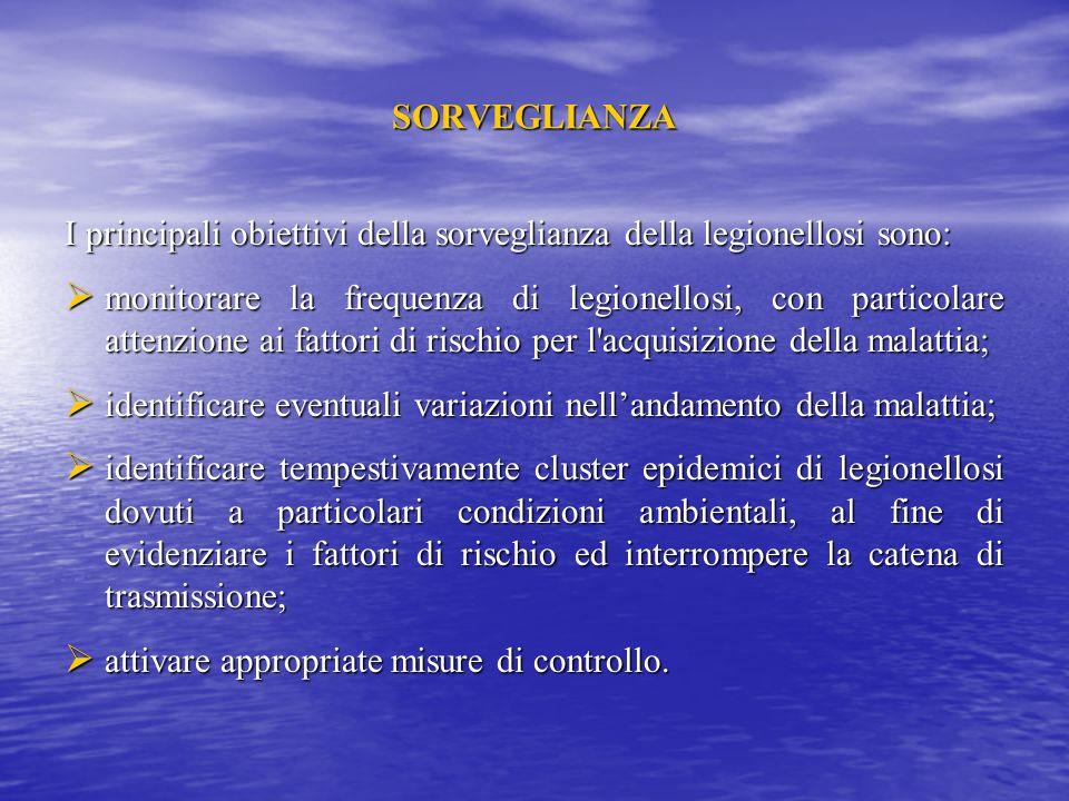 SORVEGLIANZA I principali obiettivi della sorveglianza della legionellosi sono: