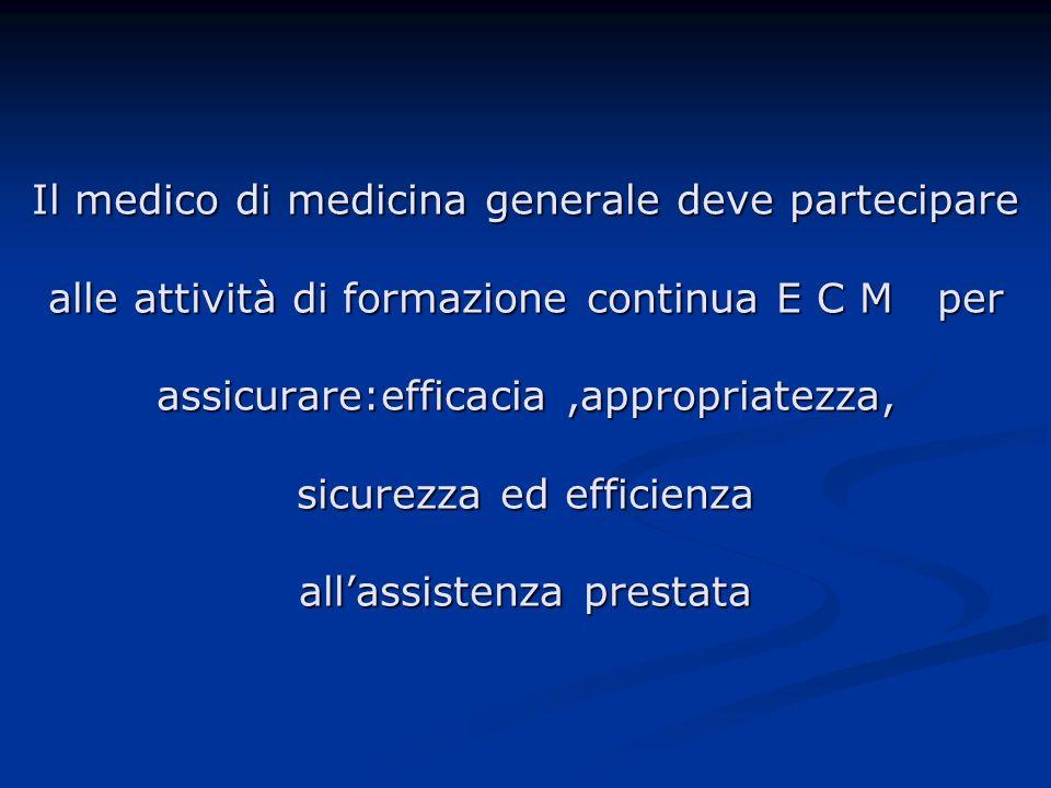 Il medico di medicina generale deve partecipare alle attività di formazione continua E C M per assicurare:efficacia ,appropriatezza, sicurezza ed efficienza all'assistenza prestata