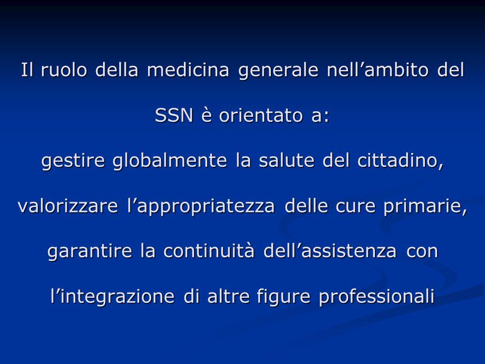 Il ruolo della medicina generale nell'ambito del SSN è orientato a: gestire globalmente la salute del cittadino, valorizzare l'appropriatezza delle cure primarie, garantire la continuità dell'assistenza con l'integrazione di altre figure professionali