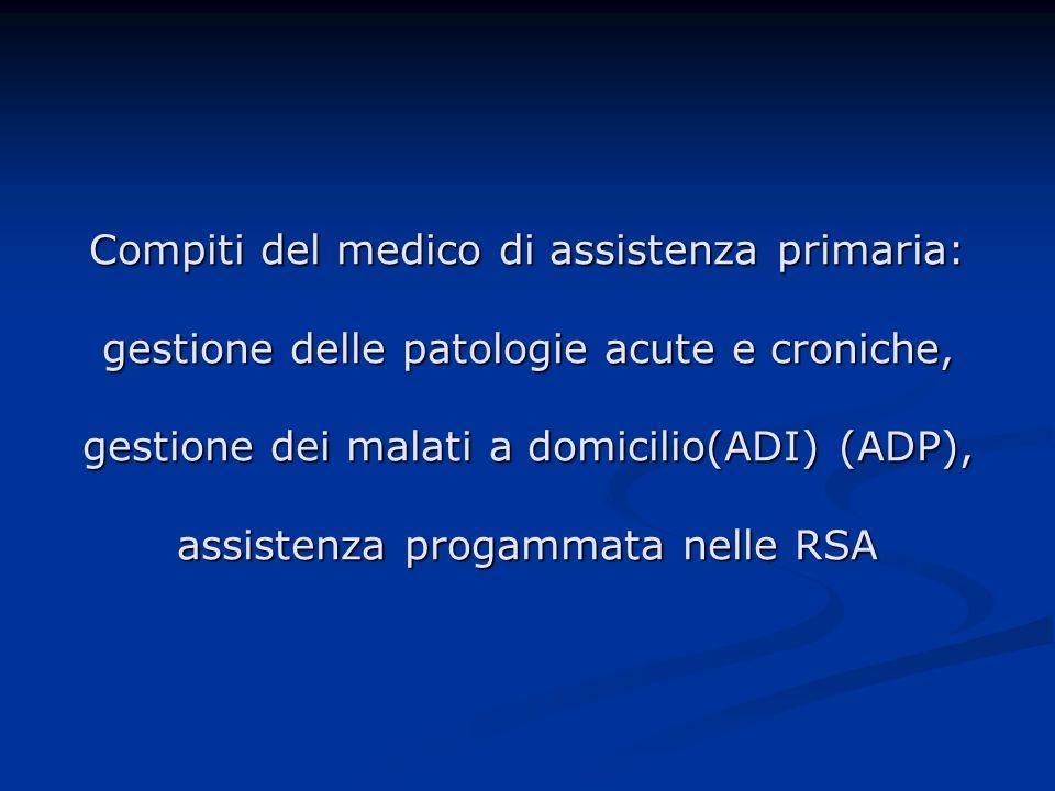 Compiti del medico di assistenza primaria: gestione delle patologie acute e croniche, gestione dei malati a domicilio(ADI) (ADP), assistenza progammata nelle RSA